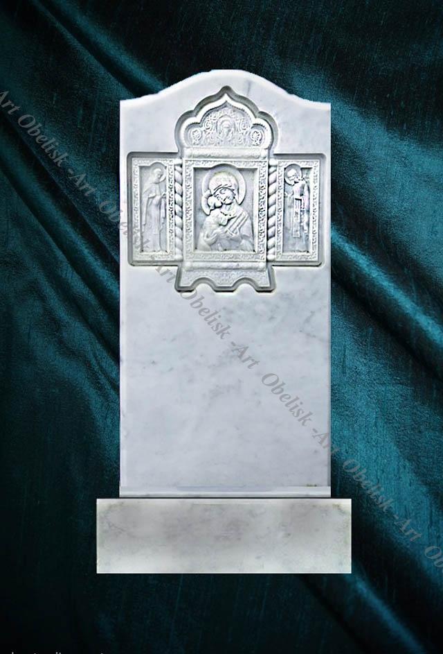 фото памятника из мрамора с иконой